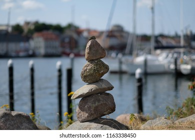 Stacked up stones as symbolic stone figures
