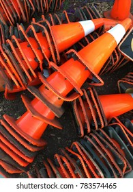 Stacked traffic cones