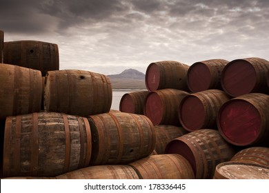 Stacked Whisky Barrels/One too Many/Whisky Barrels Stacked high