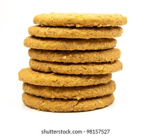 stacked wholemeal cookies on a white background
