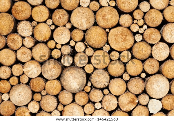 Stacked wood pine timber for construction buildings Background