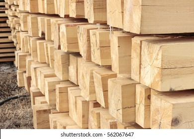 stacked wooden beams