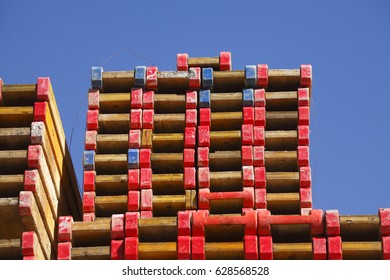stacked up wooden bearer on a construction site