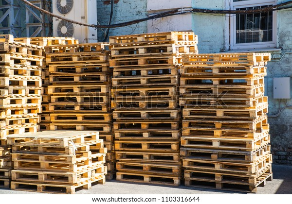 Stacked wooden pallets