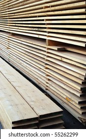 stacked wooden strips in a carpenter?s workshop