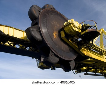 Stacker- reclaimer at coal terminal in Port of Gdansk