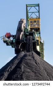 Stacker-reclaimer in a coal handling terminal