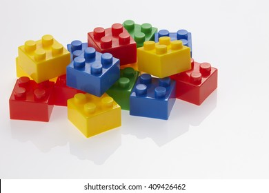 stacking block on the white background