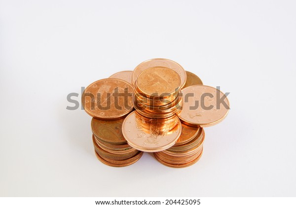 stacking bronze coins
