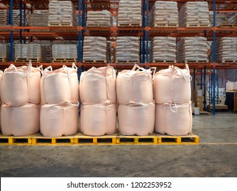 Stacking of bulk cargo in jumbo bags are store in warehouse.