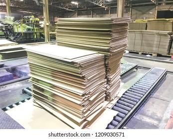 Stacking cardboard industry unarmed brown paper packing material.