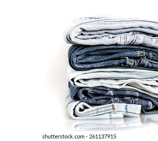 stacking of the different blue jeans