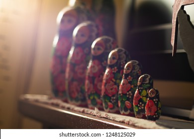 stacking dolls or Russian dolls with morning sun  light from windows
