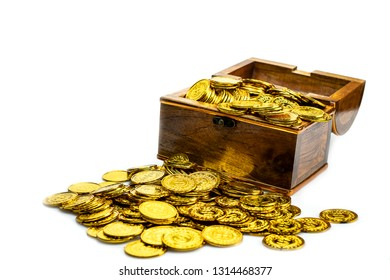 Stacking Gold Coin in treasure chest  on white background