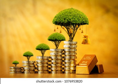 Stacking gold coins and money bag of tree with growing and gold bar in the office, Saving money and loan for business investment concept.