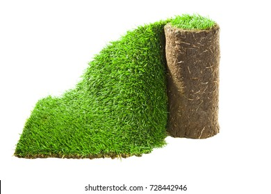 The stacking of roll green lawn grass. Grass Carpet Roll Isolated on White Background