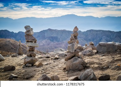 Stacking Stones in Mecca Hills Palm Spring, California