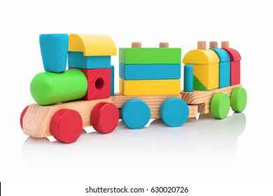 Stacking Train Toddler Toy for little children, isolated on white background with shadow reflection. Baby train made of wooden geometric blocks. Colorful wooden stacking train for kids on white