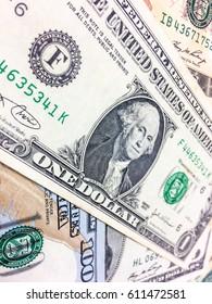 Stacking of USD money background, Us dollar close up