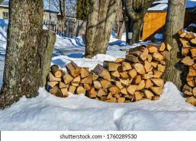 stacking of wood near a sugar bush in winter