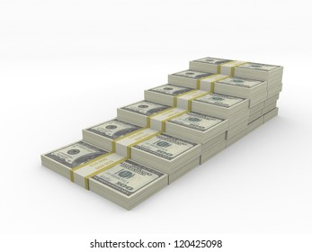 Stacks of 100 bills in the form of stairs