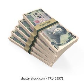 Stacks of 1000 Japanese Yen Isolated. 3D rendering