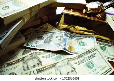 Stacks Of American Cash With Gold Bar & Luxury Watch Macro Close Up High Quality