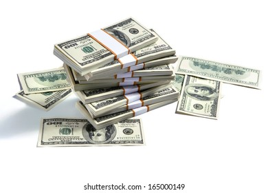 Stacks of american money / studio photography of US banknotes - on white background