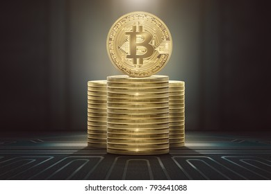 Stacks of bitcoins standing on circuit board background