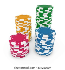 Stacks of Blank Poker Chips isolated on white