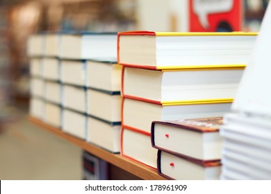 Stacks of books in the bookstore