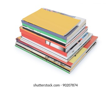 stacks of books and magazines with blank cover isolated on white background
