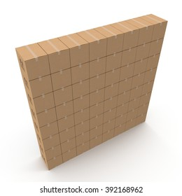 Stacks of cardboard boxes isolated on white.