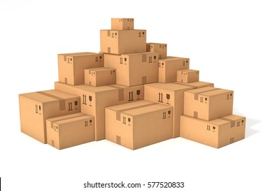 Stacks of cardboard boxes isolated on white background. Retail, logistics, delivery, storage concept. Side view with perspective. Abstract delivery symbol. Place for your text, logo. 3D illustration