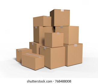Stacks of cardboard boxes isolated on white background with clipping path