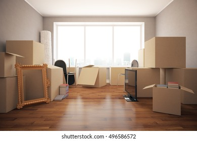 Stacks of cardboard boxes with various objects in clean room with wooden floor, grey walls and windows. Moving in concept. Front view, 3D Rendering