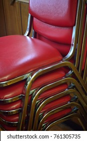 Stacks of chairs create interesting patterns as they are set aside for storage.