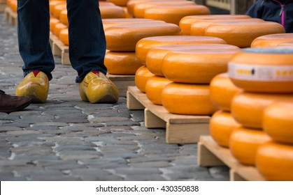 Stacks of cheese in the market in Gouda, Netherlands