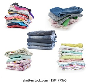 Stacks of clothes isolated on white background