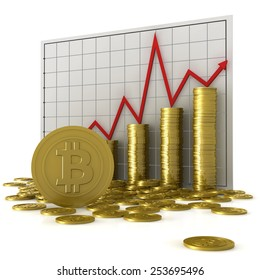 Stacks of coins with bitcoin symbol against a currency chart, isolated on white background