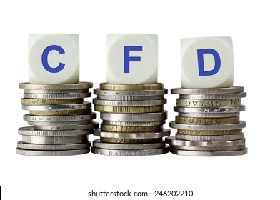 Stacks of coins with the letters CFD isolated on white background