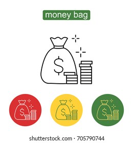 Stacks of coins and money bag. Money saving and money bag icon design. Stack of coins icon thin line for web and mobile, modern minimalistic design. American dollars modern design isolated.