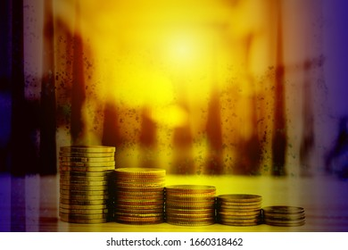 Stacks of coins in order of height and low In order to demonstrate savings in order to increase returns in a hierarchy. Business and finance concept
