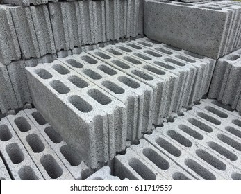 Stacks of concrete blocks