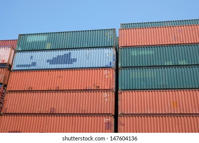Stacks Of Containers At A Storage Area