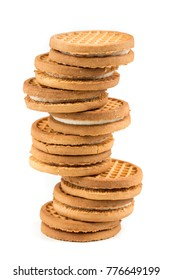 Stacks of cookies isolated on a white background