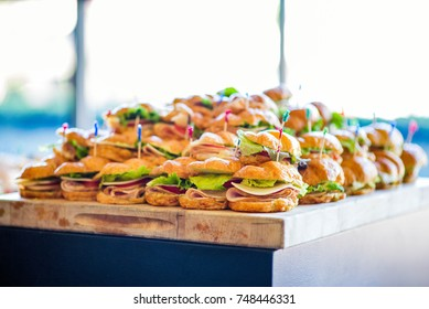 stacks of croissant sandwiches
