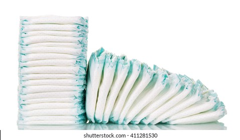Stacks of diapers for children isolated on white background.