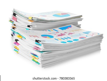 Stacks of documents on white background