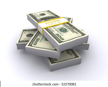 stacks of dollar bills